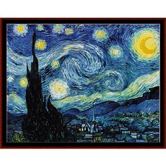 "Finished Sizes (approximate) 14 count: 35.75"" x 27.25"" 18 count: 27.75"" x 21"" 22 count: 22.75"" x 17.25"" Stitches: 500w x 380h  Vincent Van Gogh cross stitch pattern by Cross Stitch Collectibles Pattern Features: *"