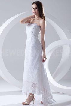 Strapless Lace over Satin Ankle Length Sheath Wedding Dress Evening Dresses, Prom Dresses, Formal Dresses, Wedding Dresses, Open Back Wedding Dress, One Shoulder Wedding Dress, Unique Bridesmaid Dresses, Satin, Bridal Gowns