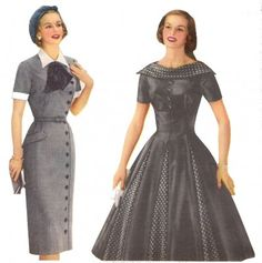 1950s Fashion Dresses in the two silhouettes- sheath and full skirt. Click to learn the history of these dresses at VintageDancer.com