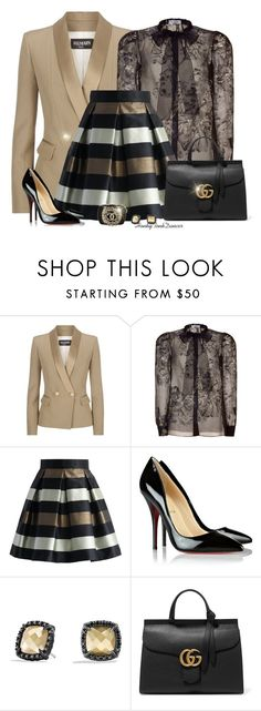 """Lace And Stripes"" by honkytonkdancer ❤ liked on Polyvore featuring Balmain, Valentino, Chicwish, Christian Louboutin, David Yurman, Chanel, Gucci, women's clothing, women and female"