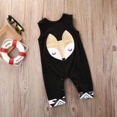 2017 New Summer Newborn Infant Baby Boy Girl Bodysuit Cotton Sleeveless Cute Fox Black Loose Bodysuit Baby Clothes Outfits Rompers Bebe, Rompers For Kids, Baby Rompers, Toddler Outfits, Baby Boy Outfits, Kids Outfits, Pyjamas, Lacoste, Toddler Jumpsuit