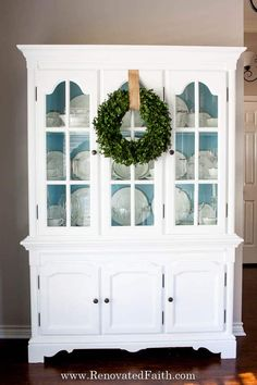 Is a new china cabinet WAY too expensive? Check out my china cabinet makeover and I'll show you 7 steps to update an old hutch with your own style in mind! Refinished China Cabinet, Painted China Hutch, China Cabinet Makeovers, Farmhouse China Cabinet, China Hutch Makeover, Modern China Cabinet, Antique China Cabinets, China Cabinet Display, Cabinet Decor