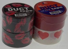 """Lot 4 Kiss Lips Hearts Red White Black Rolls Duct Tape 1.88""""x45 Yds USA Fashion - FUNsational Finds - 1"""