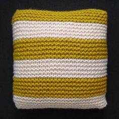 Darkroom Stripe Knitted Cushion Mustard/Ecru