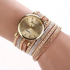 Fashion Multi Band Rhinestone Stud Bracelet Watch Women Band Wristwatch