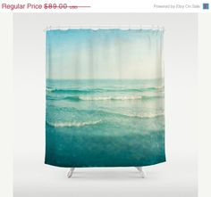 on sale shower curtain bathroom home decor ocean sea blue aqua aqamarine waves dreamy beach house decor seashore summer usd by