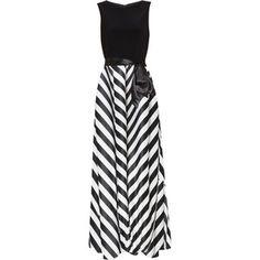 Gina Bacconi Jersey Bodice Satin Stripe Maxi Dress, Black/White