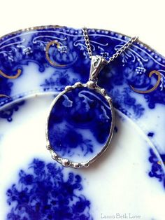 Broken china necklace oval pendant Antique flow blue floral broken china jewelry 100 year old china