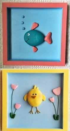 MENTŐÖTLET - kreáció, újrahasznosítás: Egyszerű kavicsképek gyerekszobába Nursery Wall Art, Painted Rocks, Kids, Stones, Crafts, Painting, Garden, Home Decor, Stone Crafts