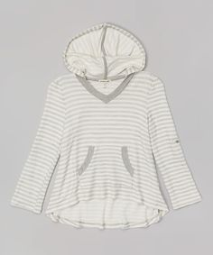 Look what I found on #zulily! Monteau Girl Heather Gray & Ivory Stripe Hi-Low Hoodie by Monteau Girl #zulilyfinds