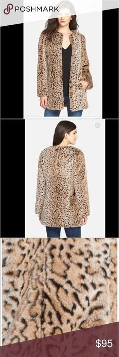 "STEVE MADDEN LEOPARD FAUX FUR JACKET COAT A tawny leopard print adds playful feline fun to a plush faux-fur topper with clean lines and a minimum of fuss. 30"" length (size Medium). Front hook-and-eye closure. Front pockets. Fully lined. 86% acrylic, 14% polyester faux fur. Dry clean. Steve Madden Jackets & Coats"