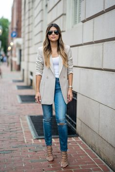 Topshop 70s Twill Longline Jacket, Pam Hetlinger, The Girl From Panama, high riser madewell jeans,  Schutz Juliana Caged Sandals