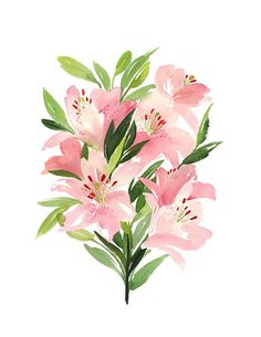 Handmade Watercolor Archival Art Print- Lilies in Vertical Arrangement