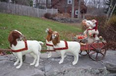 Needle Felted Pig in cart being pulled by needle felted goats Christmas at Holly Hill Farms. The farm animals are dressed in their Christmas finery. www.twooldcrowsnj.com