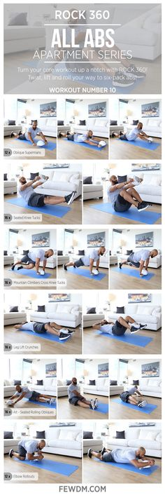 Target the entire core with ROCK 360 rolling and strength training exercises! Workout #10 in the Apartment Series, All Abs.