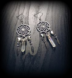 Silver Moon Dream Catcher Earrings With Quartz Crystals