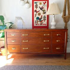 Gorgeous refinished  #midcentury #dresser done! Headed to @curiositiesvintage soon unless you get your mitts on it first  #vintage #howardswoodpolish #restorationhardware #gold