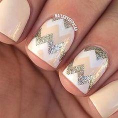 Gorgeous chevron nail design! #nails #art #love #them #chevron #glitter #white #tan #talent  - _nails_99_ via Instagram on Mar 31, 2015