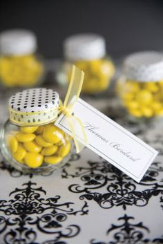 Michaels.com Wedding Department: Classic Black and White Favor Jar br/aMake an elegant statement with black and white. Pair these neutrals with your accent wedding color by adding colored candies and ribbon to a Gartner Studios favor jar with patterned lid. br/Courtesy of Gartner Studios®