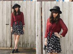 Burgundy Blouse, Polka Dot Skirt