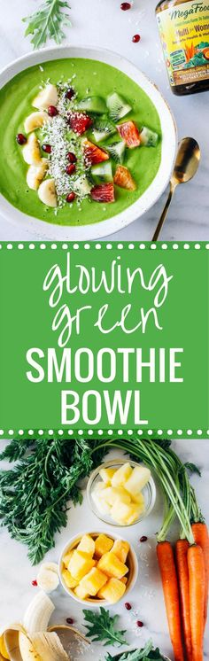 Glowing Green Smoothie Bowl-a nourishing blend of fruit and greens to help your skin glow from the inside out! @megafood