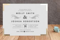 Campaign Style Foil-Pressed Wedding Invitations by Carolyn Nicks at minted.com