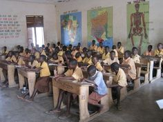 4. In some of the nicer parts of Ghana the classrooms are more suitable for learning. They have their own desks and the walls usually have some sort of poster or painting on them.