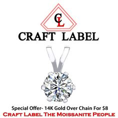 1.00 Ct Round Brilliant Cut 14K Gold Solitaire Pendant Without Chain. Starting at $1