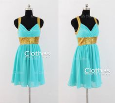 Custom Made Mint Chiffon Sequined Short Prom Dresses, Brdiesmaid Dresses, Cheap Prom Dresses 2014, Homecoming Dresses
