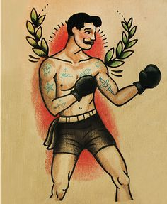 May be an inspiration for a traditional Rocky tattoo.