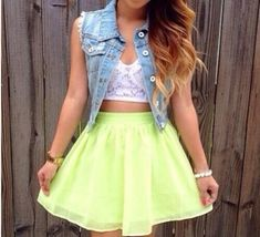 Instagram Girls Tumblr outfits | skirt neon weheartit instagram tumblr tumblr girl cute girly edit tags fashion lime green skirt white lace crop top with pearl braclet and dip dyed hair