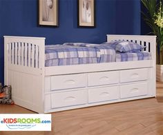 Kids Furniture Twin Size Captains Bed in White by Discovery World Furniture 0235