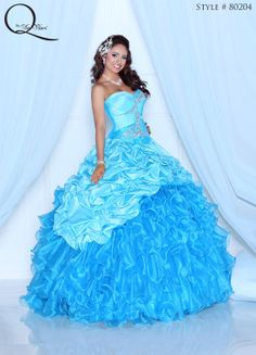 Blue Quinceanera dress ~ Quinceanera dresses from Q by Davinci #quince XV años. Available in Aqua/Turquoise, Dark Fuchsia/Fuchsia, White/Black