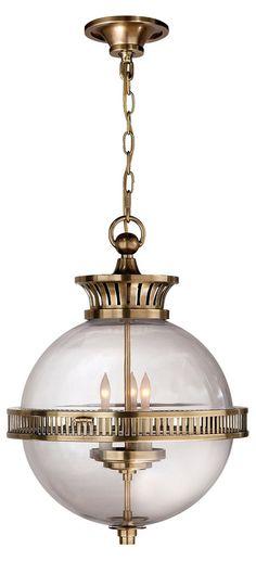 Alderly Globe Pendant, Antiqued Brass