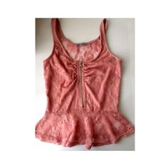 Charlotte Russe Lace Top Pink lace top with zipper in-front and sheer back. Charlotte Russe Tops