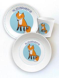 Kindergeschirr Fuchs, Kinderteller, Becher und Frühstücksbrettchen aus Melamin. Personalisierbar mit Namen des Kindes.