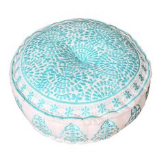 Bombay Duck Nomad Embroidered Pouffe, Turquoise