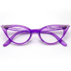 Vintage Cateyes Inspired Fashion Clear Lens Cat Eye Glasses with Rhinestones Lila Fashion Eye Glasses, Cat Eye Glasses, Vintage Inspiriert, Vintage Fashion 1950s, All Things Purple, Purple Stuff, Cat Eye Frames, Purple Fashion, First Ladies