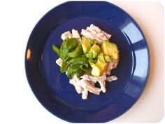 Goat cheese pasta served with avocado and basil Goat Cheese Pasta, Avocado Pasta, Basil, Cravings, Nom Nom, Sugar, Lady, Ethnic Recipes, Food