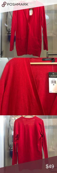Darling red Ralph Lauren cardigan. M Adorable red Ralph Lauren long cardigan. New with tags. Size M Ralph Lauren Sweaters Cardigans