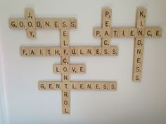 Fruit of the Spirit Scrabble Wall Art- could make art work with words overlapping like this