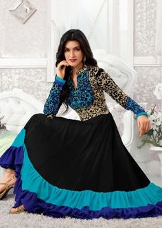 Black and blue embroidered georgette semi stitched salwar with dupatta