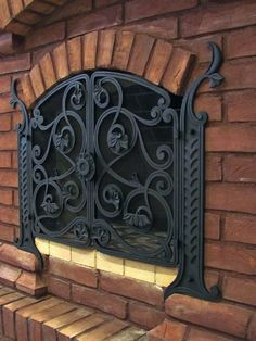 Fireplace Cover, Fireplace Screens, Fireplace Tools, Iron Work, Blacksmithing, Windows And Doors, Wrought Iron, Metal Working, Dollhouse Miniatures