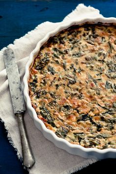 Beet Green Crustless Quiche - minus the bacon and most of the dairy- should be good- gotta use up my beet greens!