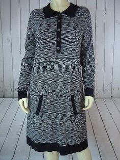 MISSONI TARGET Long Sweater or Dress L Black White Gray Rayon Nylon Knit CHIC!