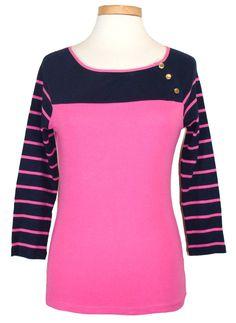 NEW Ralph Lauren Womens Shirt Colorblock Stripe Knit Top Pink Navy Blue Sz S NWT #RalphLauren #KnitTop #Casual
