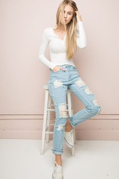 Brandy ♥ Melville | Jameson Distressed Denim - Pants - Bottoms - Clothing