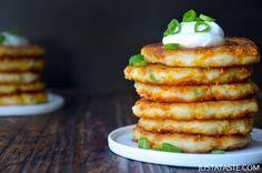 Cheesy Leftover Mashed Potato Pancakes Recipe