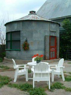 Grain silo turned into pool house. There's a blow up pool inside for year found use.