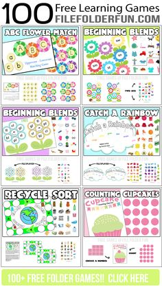 100+ Free File Folder Games and Learning Centers from www.FileFolderFun.com. Organized by Grade and Theme. Huge Resource Here!!